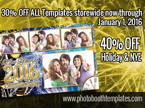 30% off sitewide at photoboothtemplates.com, 40% off holiday & NYE templates